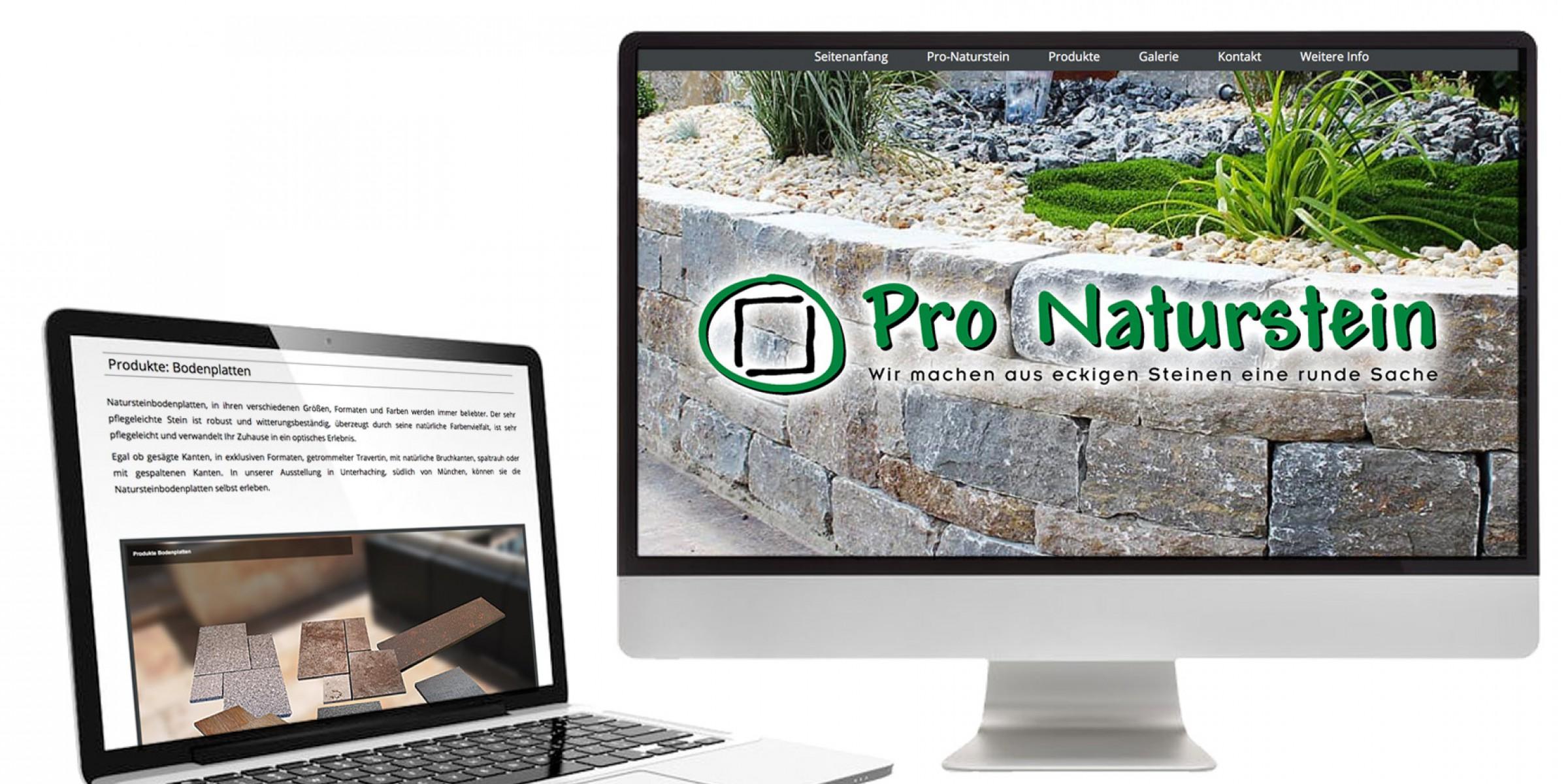 Pro Naturstein webdesign münchen tegernsee gmund miesbach bad tölz seo münchen